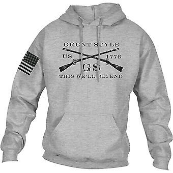 نخر نمط الشعار الأساسية pullover هوديي - الرياضة الرمادي