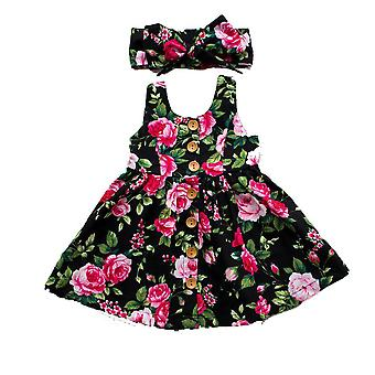 Crianças Baby Girls Summer Floral Princess Party Vestidos Sem Mangas Bandana 2pcs