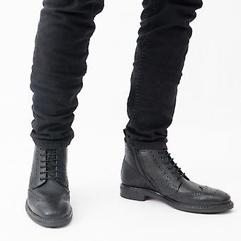 Base Lontoo Berkley Miesten Nahka Brogue Boots Musta