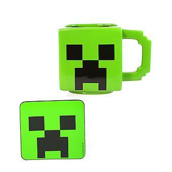 वयस्कों और बच्चों के लिए Minecraft लता मग और कोस्टर सेट । Minecraft कप 550ML और पेय धारक क्रिसमस गेमर उपहार । ग्रीन एंड व्हाइट सिरेमिक बॉयज, गर्ल्स, पुरुष और महिला