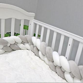 Baby Braided Bed Crib Bumper, Breathable Knotted, Braided Plush Nursery Strand