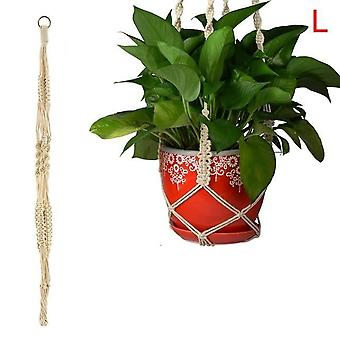 Vintage Plant Hanger Flowerpot -holder Basket With Hoop Macrame