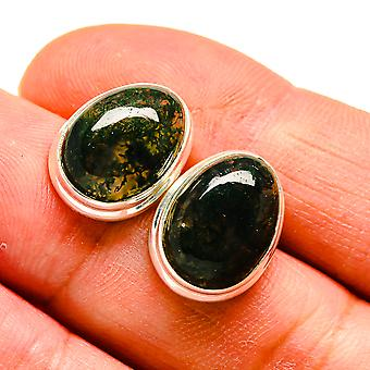"Green Moss Agate 925 Sterling Silver Earrings 5/8""  - Handmade Boho Vintage Jewelry EARR408346"