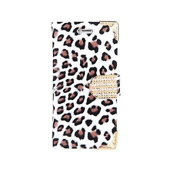 ファッショナブルな財布ヒョウケースフリップレザーカバー、カードホルダー/ストラップ付き Apple iPhone 6 ホワイト