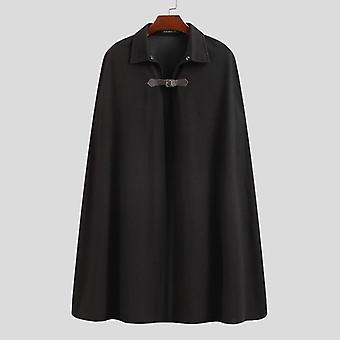 Men Cloak Coats, Solid Color, One Button Lapel Cape, Trench Streetwear, Winter