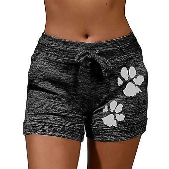 Summer Drawstring Cat Paw Print Shorts Lace Up High Waist Elastic Cotton Short