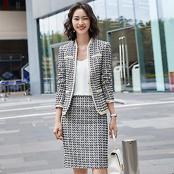 Formal Two Pieces Sets Office Skirt Suits Autumn Single Button Notched Plaid