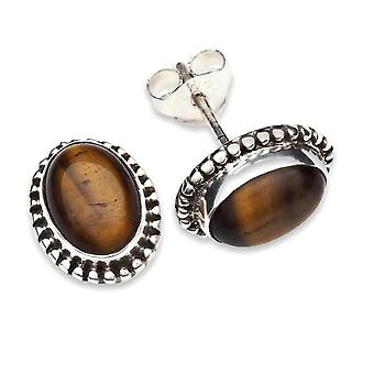 Stud Oorbellen Zilver 925 Sterling Zilver Tiger Eye Brown Stone (Nr: MOS 17-18)