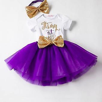 Lovely Girls Romper Skirt + Headband Outfit , Design 4