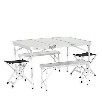 New Eurohike Family Picnic Table Set Camping Furniture White