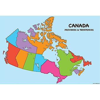 """Smart Poly Charts, 13"""" X 19"""", Canada Map, Pack Of 10 Poster"""