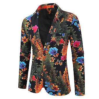 Mens Popular Floral Printed Suit Jacket One Button Flat Collar Blazer