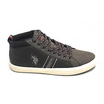 Sneaker Alto Us Polo Mod. Varan Faux Leather Color Dark Brown Man U20up14