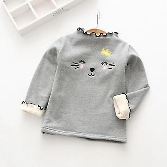 סוודרים חורף סתיו, חמוד חתלתול בתוספת מעיל משיכת קטיפה