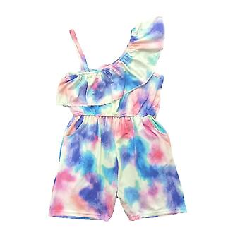 Tie-dye Print And Word Shoulderdesign Jumpsuit
