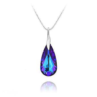 Monipuolinen violetti kristalli kyynel kaulakoru