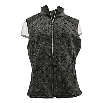 Denim & Co. Women's Sweater Quilted Zip Front Sherpa Vest Black A342723