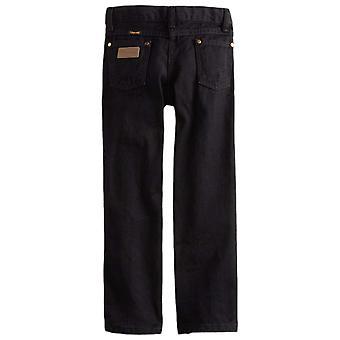 Wrangler Boys' Cowboy Cut Relaxed Fit Jean, Overdyed Black Denim, 16 Husky