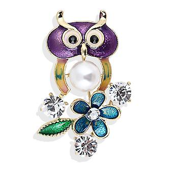 Corsage Owl Ladies Brooch Painted Scarf Clip Pearl Alloy Brooch Pin