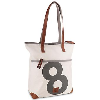 360 degrees Deern Lang Tote Shopper Canvas bag, shoulder bag in white with number grey and leather strap
