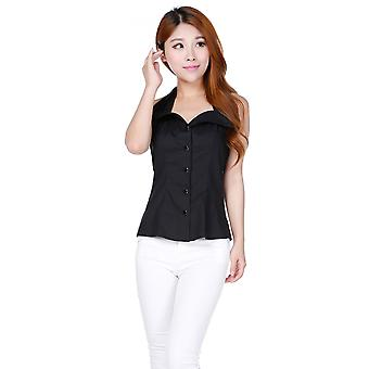 Chic Star Plus Size Fold Collar Halter Top In Black