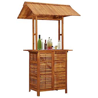 Outdoor Bar Table With Rooftop 122x106x217 Cm Solid Acacia Wood
