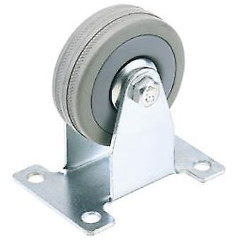 Draper 65482 100mm Diameter Fixed Plate Fixing Rubber Castor - S.W.L. 80Kg