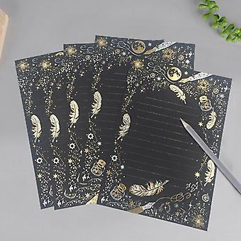 Vintage Gilding Feather Star Letter Paper Set, Stationary Writing, Mini