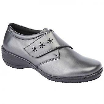 Mod Comfys Gwyn Ladies Leather Casual Shoes Pewter