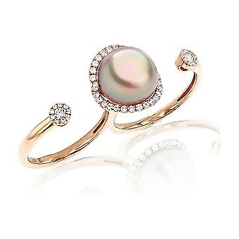 Luna-Pearls - Ring - Pearl Ring Brilliant - 750 Rose Gold - Ring Size 56 (17.8mm)