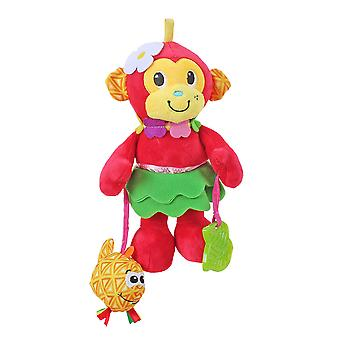 Monkey Rattle Toys With Bell Bb Device Teether Plush Baby Hanging Toys Colorful Rattling Doll For Infant Red