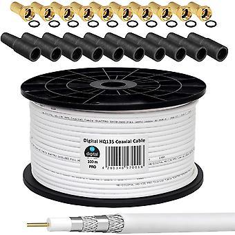 130dB 100m Koaxial SAT Kabel HQ-135 PRO 4-fach geschirmt + 10 F-Stecker vergoldet + 10 Gummitüllen