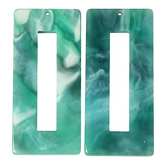 Zola Elements Acetate Pendant, Rectangle 22x49mm, 2 Pieces, Emerald Marbled