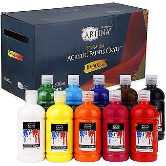 HanFei 10er Acrylfarben Set 500ml Crylic - Acrylfarbe für Leinwand, Malkartons und Holz - 10x Mal