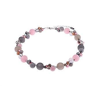 Mix of Angela pink grey necklace materials Mix