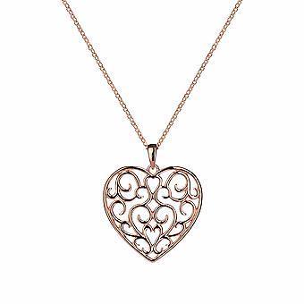 With Love - Pendentif Filigree Heart Icons - Prolongateur 40cm +3cm - Argent - Cadeaux bijoux pour femmes de Lu Bella