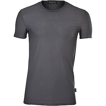 Ermenegildo Zegna Micromodal Jacquard Pinstripe Crew-Neck Camiseta, Pizarra Melange
