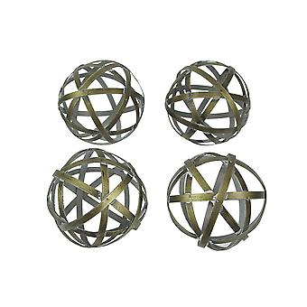 Set of 4 Woven Brass Decorative Orbs Metal Decor Balls Accent Bowl Spheres Art