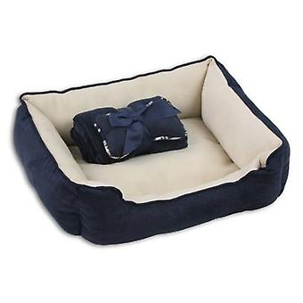 Pawise Blue 3 in 1 Cot with Bone Blanket and Cushion (Dogs , Bedding , Beds)