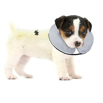 White protective inflatable collar for dogs and cats - soft pet recovery collar does not block vision e-collar x7961