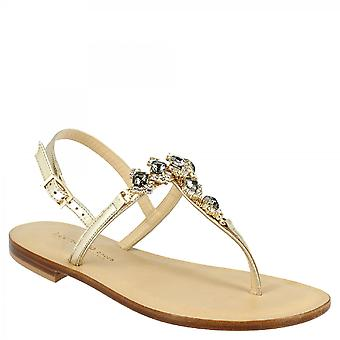 Leonardo Shoes Women's thong sandals handmade in platinum leather with black rhinestones