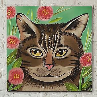 Flis 8x8 tabby katt av J Yates veggkunst