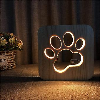 Wooden Night Light For Child Pattern Wolf Paws 2