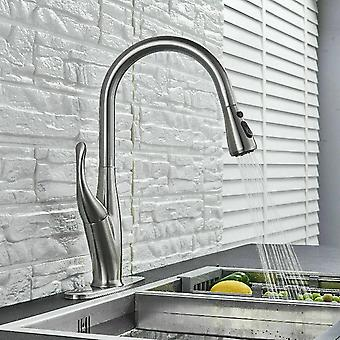 Nozzle Cold And Hot Water Mixing Pull Type Kitchen Faucet With Protective Sleeve