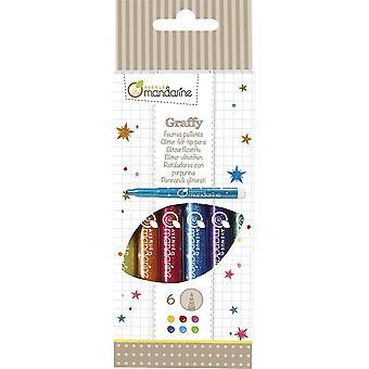 CC029O Packung mit 6 Glitzerfilzstiften, ideal für Bastelprojekte, abwaschbar, mit Glitter, 1 Pack
