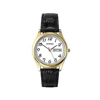 Sekonda 3925 Gouden En Zwart Lederen Classic Herenhorloge