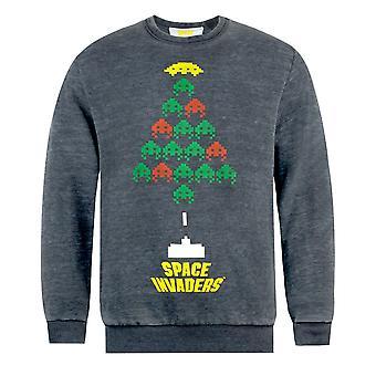 Space Invaders Unisex Adults Christmas Tree Burnout Sweatshirt