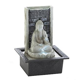 Cascading Fountains Stone-Look Buddha tændt bordplade Vand springvand, Pakke med 1