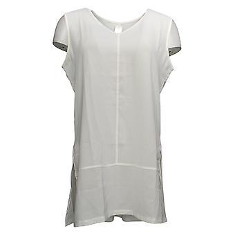 WynneLayers Women's Top Reg Washed Crepe Sleeveless Tunic White 758605