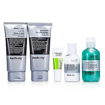 Anthony Logistics For Men den väsentliga Traveler Kit: Cleanser + Mositurizer + Lip Blam + Shave Cream + hår & Body Wash 5st